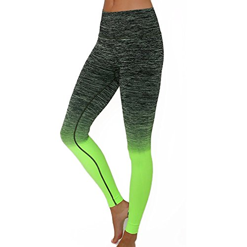 Women's Slim Two Tone Workout Full Length Yoga Pants (S, Black + Neon Green)
