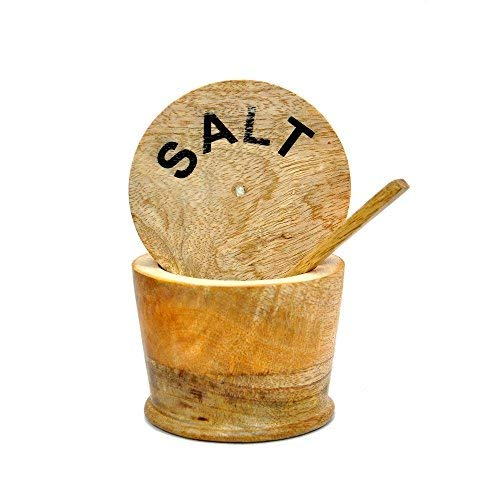 KITCHEN SUPPLIER Wooden Salt Container with Wooden Scoop-Handmade by Indian Artisans Mothers Day Collection 2019