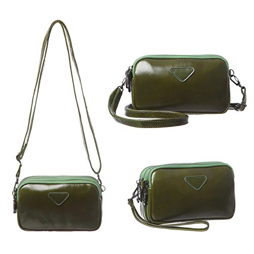Leather Cell Phone Purse Wristlet Wallet for Women Girls Three Layers Clutch Handbag Mini Crossbody Bag Fit iPhone X 8 7 Plus 6S/6 5S 5C Samsung Galaxy S8+ S7 S6 Edge S5 Katloo (Green) by Katloo