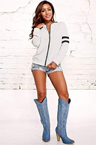 Giacche Ragazze Casual Leggero Giubbotto Outerwear Eleganti Autunno Sweat Giubotto Bianca Donna Lunghe Maniche Moda Giacca Ragazza Zip Sportivo Fashion rrwg0q8