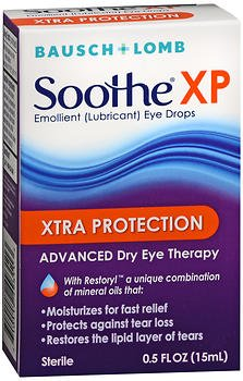 Bausch & Lomb Soothe XP Emollient Lubricant Eye Drops Xtra Protection with Restoryl 0.50 oz (Pack of 2) ()