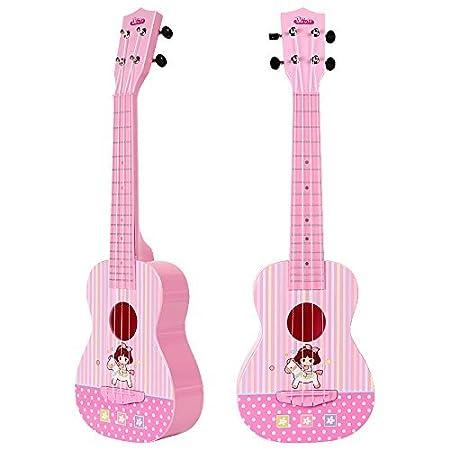 aPerfectLife Hermosa melodía 4 cuerdas niños música Ukulele guitarra niños Instrumentos musicales juguetes educativos para niños pequeños (Rosa): Amazon.es: ...