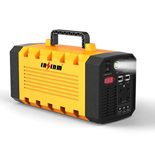 LNSLNM 500W Portable Power Station - 288Wh/90,000mAh Lithium Battery Backup, AC Gasless Solar Electric Generator, Uninterrupted UPS Solar Power Supply for Home/Camping/CPAP/Emergency ()