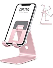 Cell Phone Stand, OMOTON Adjustable Aluminum Desktop Cellphone Tablet Stand Holder for Cellphones, iPhone and E-Readers, Rose Gold