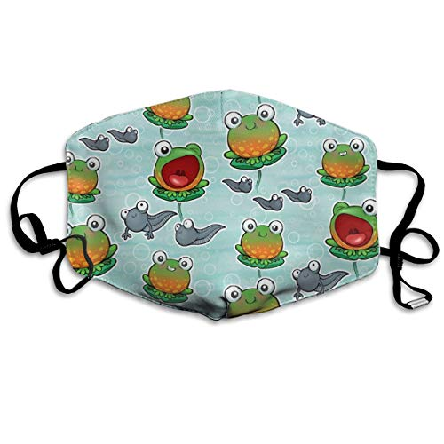 SyjTZmopre Cute Frogs and Tadpole Mouth Mask Unisex Printed Fashion Face Anti-dust Masks