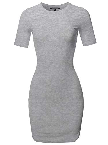 Awesome21 Solid Short Sleeves Round Hem Ribbed Mini Dress Heather Gray Size M