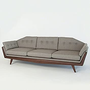 Exceptionnel Luxe Hexagon Exposed Wood Frame Sofa| 3 Seat Couch Light Gray Mid Century  Modern