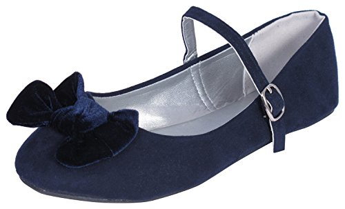'Eddie Marc Toddler Girls and Big Girls Ballet Flat with Velvet Bow and Ankle Straps, Navy, Size 3'