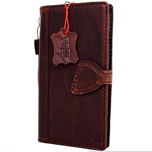 Genuine Vintage Real Leather Case for Apple iPhone 7 Plus Book Wallet Magnet Cover Handmade Slim Retro Magnetic D Luxury Brown Thin RFID Pay 60s DavisCase