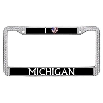 Amazon.com: Hensonata Rhinestone License Plate Frame, Bling White ...