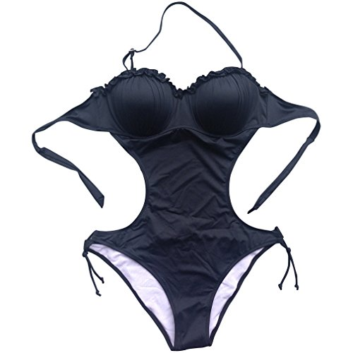 Foclassy Women's Sexy Push-up Monokini One-piece Swimsuit (Black, US 8(For Prime))