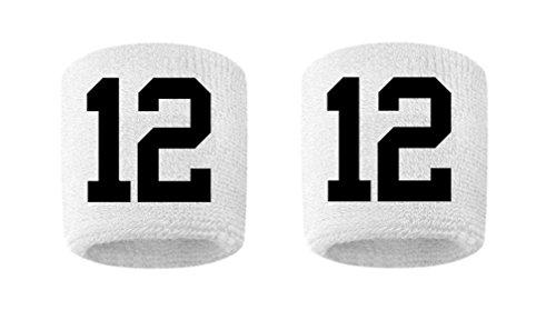 #12 Embroidered/Stitched Sweatband Wristband WHITE Sweat Band w/ BLACK Number (2 Pack)