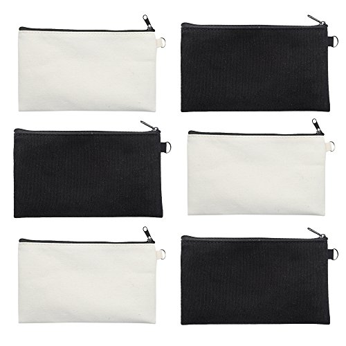 (Aspire 6-Pack Canvas Zip Pouches (3 Black + 3 Natural) for DIY Project 7 3/4
