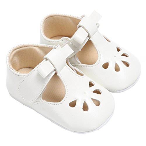 Baby Girls Christening Baptism Mary Jane Soft Sole Classic Hollow Princess Dress Flat Shoes White Size L by LINKEY