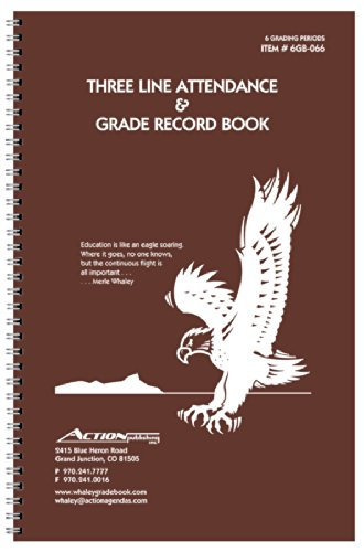 Whaley Gradebook (9 x 12 inches) 3 Line Grade And Attendance Record Book, Six 8-Week Sessions (6GB-066)