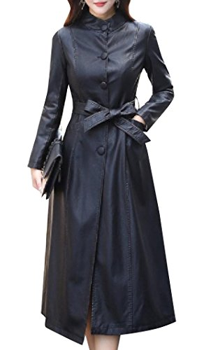 Zimaes-Women Belted Genuine Leather Slim Casual Longline Trench Coat Black M
