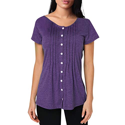 Fitfulvan Women's Ruffled Single-Breasted Pullover Solid Pleated Slim t-Shirt Round Neck Basic Short Sleeve Tops Purple