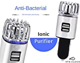 Car Air Purifier   2 in 1 Air Freshener & Phone Charger for Auto & RV. Powerful Ionizer Removes Bacteria & Bad Odors, Cigarette Smoke Smell, Allergens, Pet & Food Smell   2 USB Ports