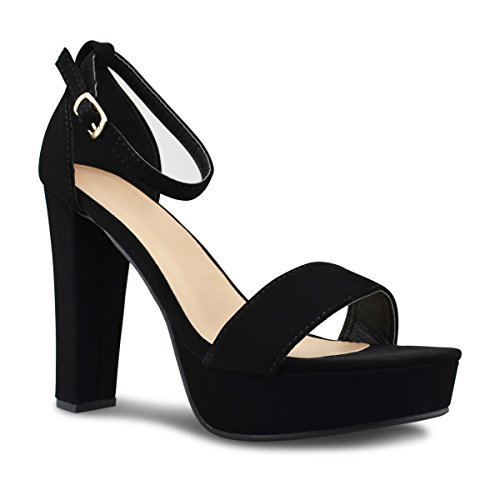 Ankle Strap Chunky Platforms (Premier Standard Womens Platform Ankle Strap High Heel - Peep Toe Sandal Pump - Sexy Chunky Dressy Heel, TPS Heels-T52 Black Size 10)