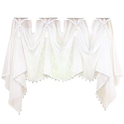 Collections Etc Elegant Sheer Scoop Tassel Crystal Beading Rod Pocket Window Curtain Valance