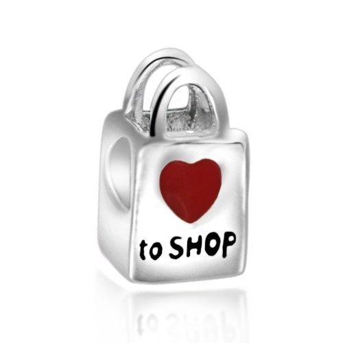 Everbling Love to Shop Red Enamel 925 Sterling Silver Bead Fits Pandora Charm Bracelet