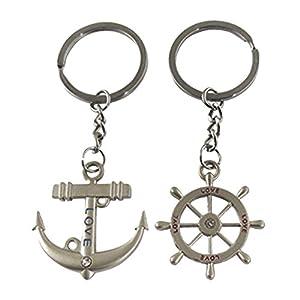 niceeshop(TM) 1 Paar Schiff Anker Ruder Schlüsselanhänger(Silbern,1 Paar)