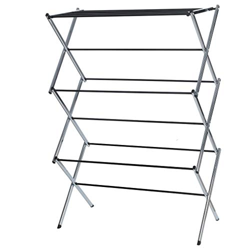 Buolo-Ship from USA Folding Drying Rack Clothes Dryer Rack Stainless Steel Kid Clothes Hunging Laundry Home Rust Proof Super Quality Cloth Drying Stand (Silver)