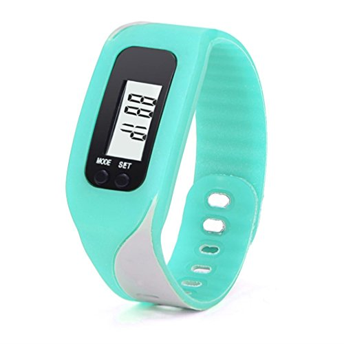 Pedometer, RIUDA Digital LCD Pedometer Watch Run Step Walking Distance Calorie Counter Watch Bracelet (Sky Blue)