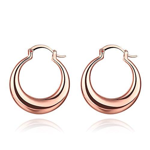 30mm teardrop Hoop Earrings Gold & Rose Gold For Women Girls Nice Gift (rose gold)