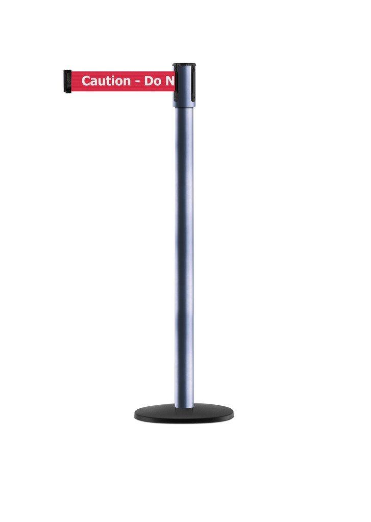 Tensabarrier - 890B-33-91-91-STD-NO-RGX-C - light metallic silver post, 2'' wide, 7'6'' length red Caution Do Not Enter belt