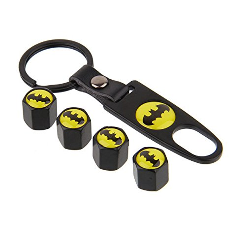 DC+Comics Products : BENZEE 4pcs VB05 Black Car Wheel Tire Valve Caps Stem Air For Batman DC Comics Superhero Shield