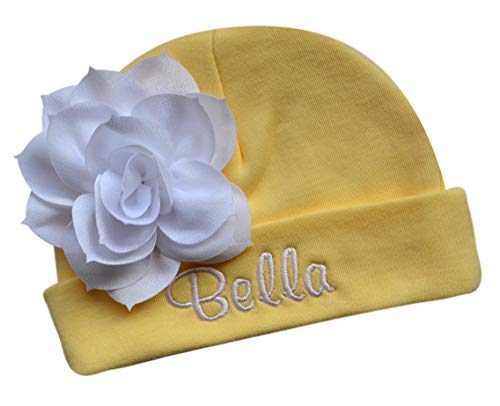 (Personalized Embroidered Baby Girl Hat with Lotus Flower Your Custom Name (Yellow Hat/White Flower))