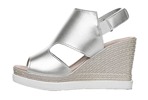 Hook Loop and Heels Sandals Pu Solid Women's Silver High WeenFashion Toe Peep wncfqOaXx