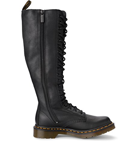 Martens Virginia Leather Boots Dr Fori with Woman's Eyelets Black Model 1b99 Black 20 USnO4w