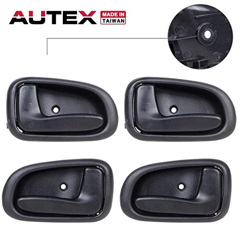 (AUTEX 4pcs Black Interior Door Handles Compatible with Toyota Corolla,Geo Prizm 1993-1997 Door Handles Front Rear Left Right Door Handles Driver Passenger 692051213004 692061213004)