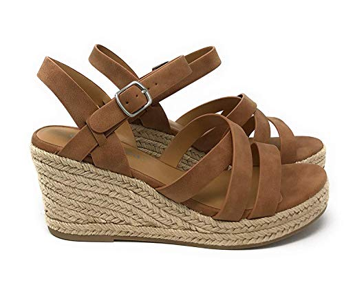 (City Classified Women's Criss Cross Open Toe Strappy Sandal Tan 7.5 M US)