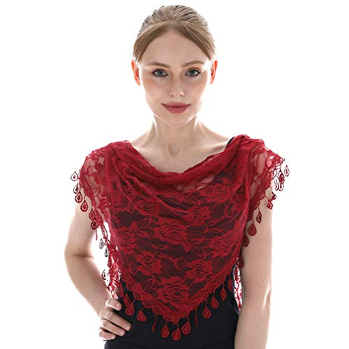 LMVERNA Women Triangle Fringed Headscarf Fashion Lace Mass Veils Lightweight Long Printed Scarf (Maroon) ()
