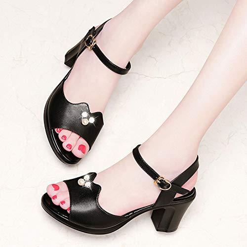 SFSYDDY Chaussures Populaires Populaires Populaires Bouton des Chaussures 7Cm Sandales Nouveau Style La Mode Les Talons Haut Et Épaisse 0baf39
