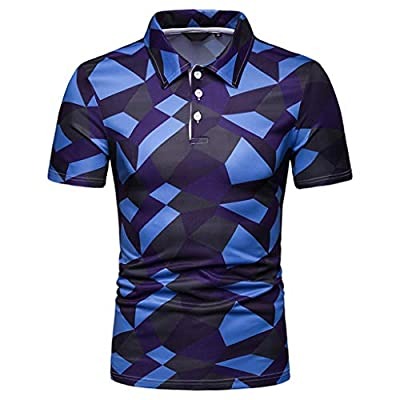 XLnuln Men's Fashion Short Sleeve Stripe Painting Large Size Casual Top Blouse Shirts Quick-Dry Golf Polo Shirt