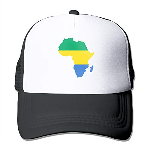 Gabon in Africa Map Flag Trucker Cap Adjustable Outdoors Black