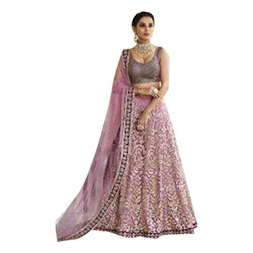 (Lavender Silk Bridal Zari Hand Work Wedding Semi Stitched Heavy Lehenga Chaniya Choli Dupatta Muslim 7426)