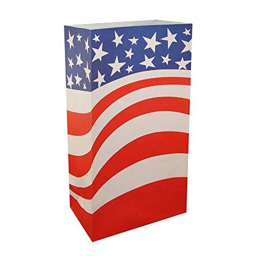 CC Home Furnishings Club Pack of 24 Patriotic American Flag Design Luminaria Bags 11