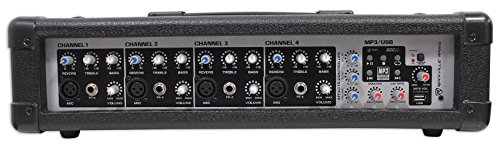 Rockville RPM45 2400w Powered 4 Channel Mixer, USB, 3 Band EQ, Effects, Phantom by Rockville