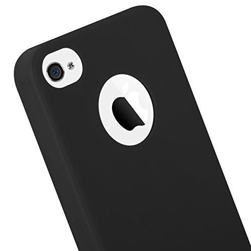 Cadorabo - Cubierta protectora Apple iPhone 4 / 4S de silicona TPU en diseño Candy - Case Cover Funda Carcasa Protección en AZUL-OSCURO-CANDY NEGRO-CANDY