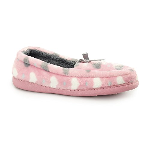 Fluffys Lockhart Ladies Heart Slip On Loafer Slippers Pink UK 7