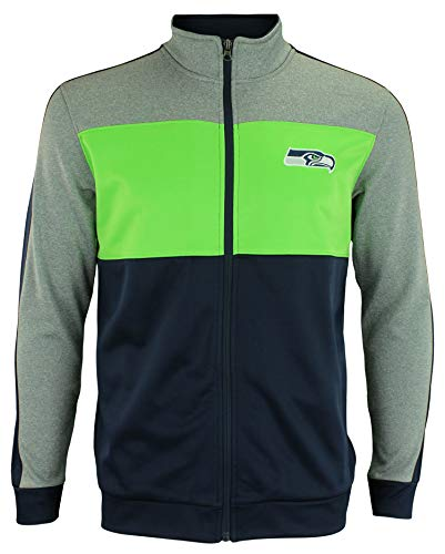 Outerstuff NFL Youth Boys (8-20) Performance Full Zip Stripe Jacket, Seattle Seahawks Small (8)