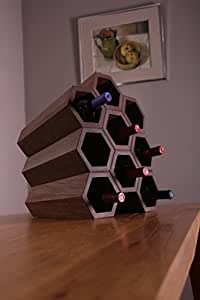 Hive. Nine bottle walnut wine rack