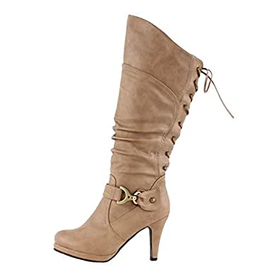 Top Moda Womens Page-65 Knee High Round Toe Lace-Up Slouched High Heel Boots,Taupe,5