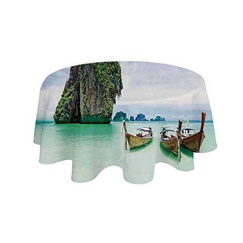 YOLIYANA Ocean Island Decor Waterproof Round Tablecloth,Limestone Rock in The Sea with Boats Tranquil Heaven Coast with Horizon Off Nature Photo for Living Room,19.6