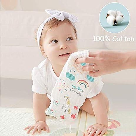 Caiery10pz Mussole Neonato/Asciugamani da bagno per bambini 30cm*30cm, extra morbidi, in mussola di cotone organico… Accessori 10pz 3